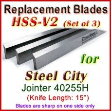 Set of 3 HSS Blades for Steel City 15'' Planer, 40255H