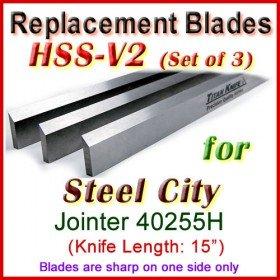 Set of 3 HSS Blades for Steel City 15'' Planer, 40255H