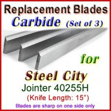 Set of 3 Carbide Blades for Steel City  Planer, 40255H