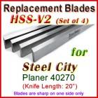Set of 4 HSS Blades for Steel City 20'' Planer, 40270
