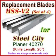 Set of 4 HSS Blades for Steel City 20'' Planer, 40270
