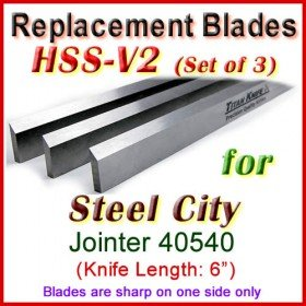 Set of 3 HSS Blades for Steel City 6'' Jointer, 40540