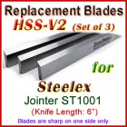 Set of 3 HSS Blades for Steelex 6'' Jointer, ST1001