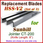 Set of 3 HSS Blades for Sunhill 8'' Jointer, CT-200