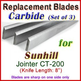 Set of 3 Carbide Blades for Sunhill  Jointer, CT-200