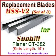 Set of 3 HSS Blades for Sunhill 15'' Planer, CT-382
