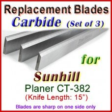 Set of 3 Carbide Blades for Sunhill  Planer, CT-382