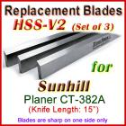 Set of 3 HSS Blades for Sunhill 15'' Planer, CT-382A