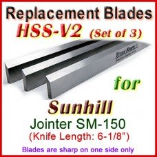 Set of 3 HSS Blades for Sunhill 6'' Jointer, SM-150