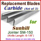 Set of 3 Carbide Blades for Sunhill  Jointer, SM-150
