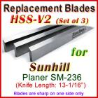 Set of 3 HSS Blades for Sunhill 13'' Planer, SM-236