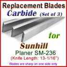 Set of 3 Carbide Blades for Sunhill  Planer, SM-236
