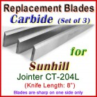 Set of 3 Carbide Blades for Sunhill  Jointer, CT-204L