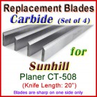 Set of 4 Carbide Blades for Sunhill  Planer, CT-508