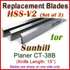 Set of 3 HSS Blades for Sunhill 15'' Planer, CT-38B