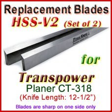 Set of 2 HSS Blades for Transpower 12'' Planer, CT 318