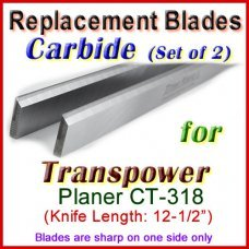 Set of 2 Carbide Blades for Transpower  Planer, CT 318