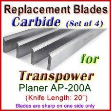 Set of 4 Carbide Blades for Transpower  Planer, AP-200A