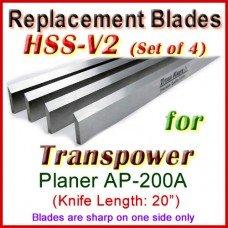 Set of 4 HSS Blades for Transpower 20'' Planer, AP-200A
