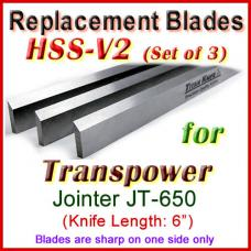 Set of 3 HSS Blades for Transpower 6'' Jointer, JT-650