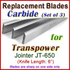 Set of 3 Carbide Blades for Transpower  Jointer, JT-650