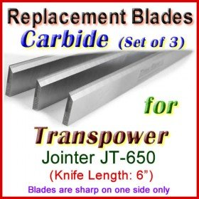 Set of 3 Carbide Blades for Transpower  Jointer, JT-650