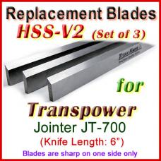 Set of 3 HSS Blades for Transpower 6'' Jointer, JT-700