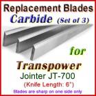 Set of 3 Carbide Blades for Transpower  Jointer, JT-700