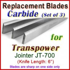 Set of 3 Carbide Blades for Transpower  Jointer, JT-700