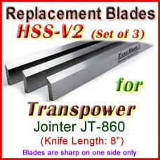 Set of 3 HSS Blades for Transpower 8'' Jointer, JT-860
