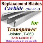 Set of 3 Carbide Blades for Transpower  Jointer, JT-860