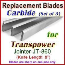 Set of 3 Carbide Blades for Transpower  Jointer, JT-860