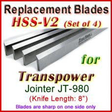 Set of 3 HSS Blades for Transpower 8'' Jointer, JT-980