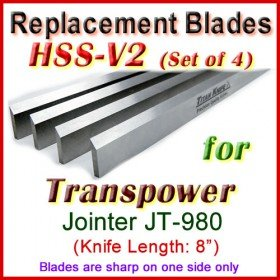 Set of 4 HSS Blades for Transpower 8'' Jointer, JT-980