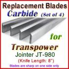 Set of 4 Carbide Blades for Transpower  Jointer, JT-980