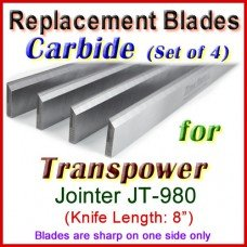 Set of 3 Carbide Blades for Transpower  Jointer, JT-980