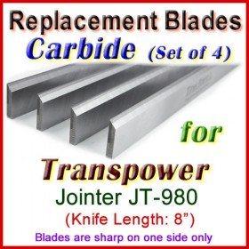 Set of 3 Carbide Blades for Transpower  Jointer, JT-980