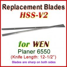 Set of 2 HSS Blades for WEN 12-1/2'' Planer, 6550