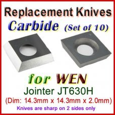Box of 10 Carbide Insert knives for WEN Jointer, JT630H