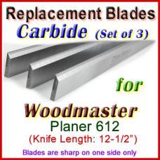 Set of 3 Carbide Blades for Woodmaster  Planer, 612