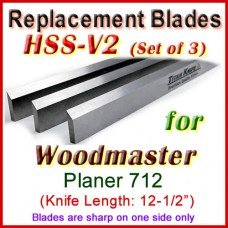 Set of 3 HSS Blades for Woodmaster 12-1/2'' Planer, 712