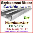 Set of 3 Carbide Blades for Woodmaster  Planer, 712