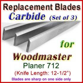 Set of 3 Carbide Blades for Woodmaster  Planer, 712