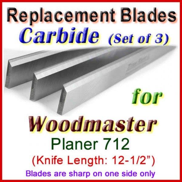 Set Of 3 Carbide Blades For Woodmaster Planer 712