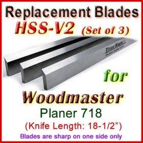Set of 3 HSS Blades for Woodmaster 18-1/2'' Planer, 718