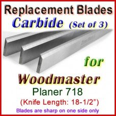 Set of 3 Carbide Blades for Woodmaster  Planer, 718