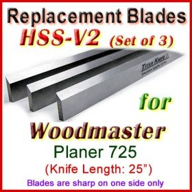 Set of 3 HSS Blades for Woodmaster 25'' Planer, 725