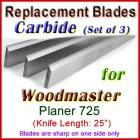 Set of 3 Carbide Blades for Woodmaster  Planer, 725