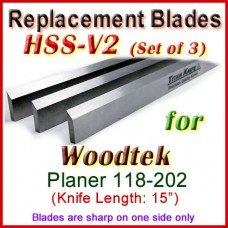 Set of 3 HSS Blades for Woodtek 15'' Planer, 118-202