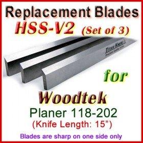 Set of 3 HSS Blades for Woodtek 15'' Planer, 118-202